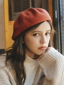 帽子—立體加厚日系羊毛呢貝雷帽子女秋冬文藝潮搭純色畫家帽