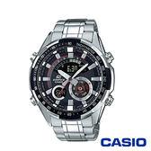 CASIO卡西歐 立體金屬時刻不鏽鋼雙顯男腕錶-黑x47mm ERA-600D-1A