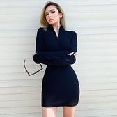 OM潮人館新品秋冬拉鏈基礎羅紋針織洋裝緊身純色內搭性感包臀女 - 風尚3C