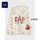 Gap女嬰幼童 時代廣場系列印花Logo連帽長袖休閒上衣 373316-紅色紋理
