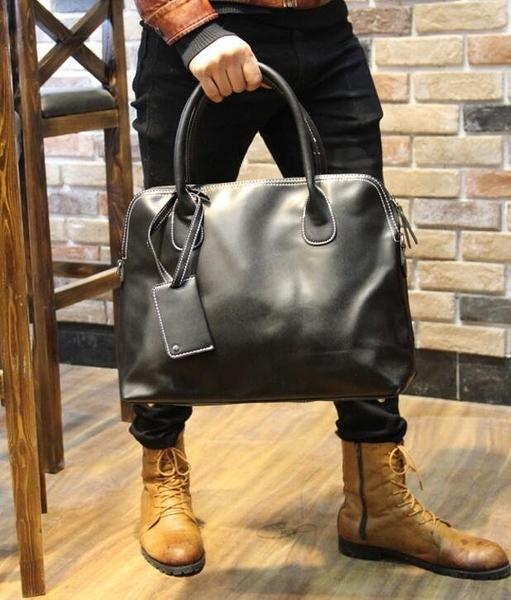 FINDSENSE Z1 韓國 時尚 潮 男 皮質 手提包 複古 單肩包 斜背包