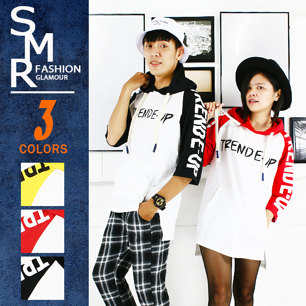 短T-T-UP斜袖英文帽短T-情侶穿搭注目款《9998V606》黑色.紅色.黃色【現貨+預購】『SMR』