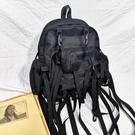 戰術包 韓版暗黑雙肩包女高街機能戰術書包ins飄帶大容量工裝背包男國潮 宜品