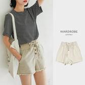 高腰排釦毛邊米色彈性短褲 / 衣櫃控-WardrobE / LZ021