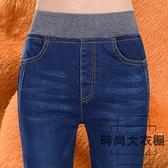 大碼高腰緊身松緊腰牛仔褲女小腳彈力長褲鉛筆褲【時尚大衣櫥】
