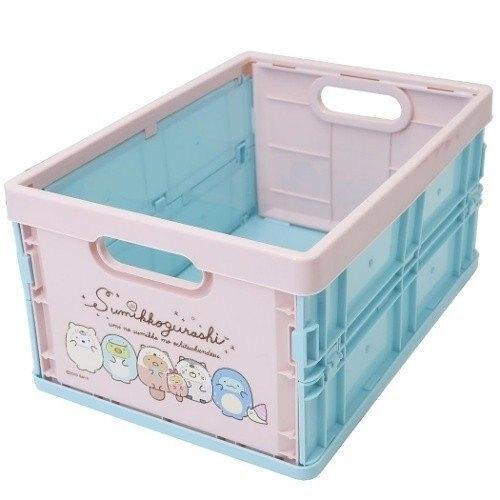 小禮堂 角落生物 塑膠折疊無蓋收納箱 CD收納盒 折疊收納盒 (M 粉綠 變裝) 4930972-50254