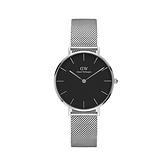 【Daniel Wellington】PETITE瑞典時尚品牌經典簡約米蘭腕錶-時尚黑x銀-32mm/DW00100162/原廠公司貨兩年保固