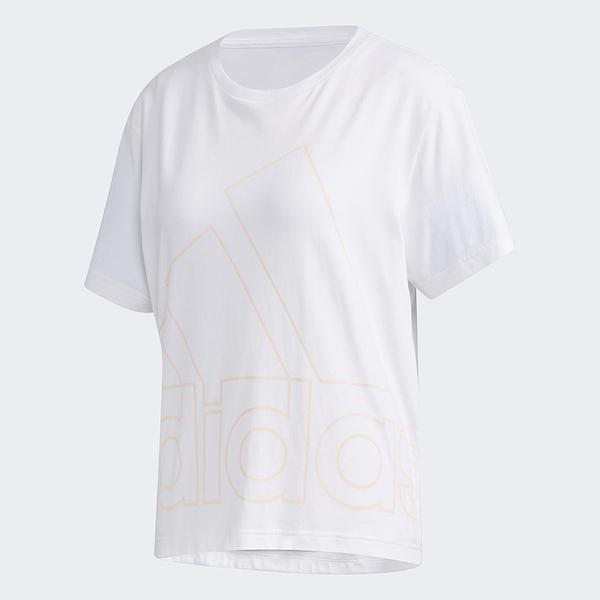 ADIDAS Big Logo Tee 女裝 短袖 休閒 慢跑 落肩 棉質 男友風 空心大LGOG 白【運動世界】GK3331