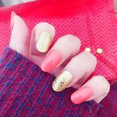 NJ112 橘紅加金跳色手指甲片美甲成品假指甲貼片小圓頭甲片成品