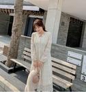 (現貨+預購FUWAFUWA)- 加大尺碼加絨蕾絲長袖洋裝