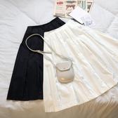 早春元氣少女簡約黑白兩色日系復古高腰拉鏈中長款百褶半身裙