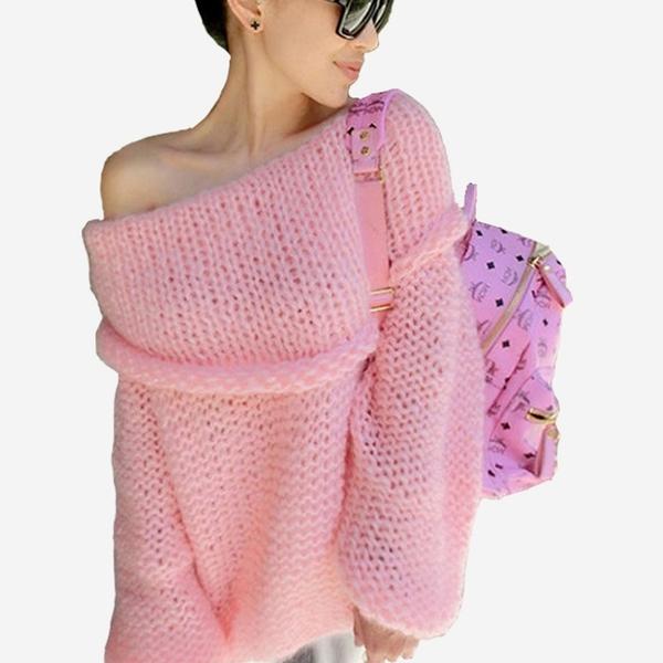 寬鬆粗針一字翻領罩衫毛衣   (黑 白  粉紅  咖啡)四色售  11612001