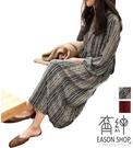 EASON SHOP(GW8741)韓版森林系文青風長袖雪紡連身裙塗鴉花紋大碼民族風女洋裝寬鬆顯瘦泡泡袖中長裙