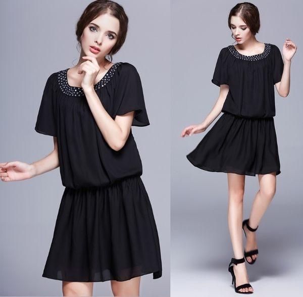卡樂store…小中大尺碼圓領鑲鑽喇叭秀雪紡洋裝 2色 黑色 M-5XL # sn1133