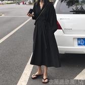 特賣長袖洋裝韓版寬鬆百搭法式復古赫本風心機小黑裙溫柔chic長袖雪紡連身裙女