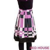 【RED HOUSE-蕾赫斯】色塊拼接A字裙(浪漫紫)