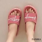 PAPORA英文字母輕量防水室內室外百搭沙灘拖鞋涼鞋K2018