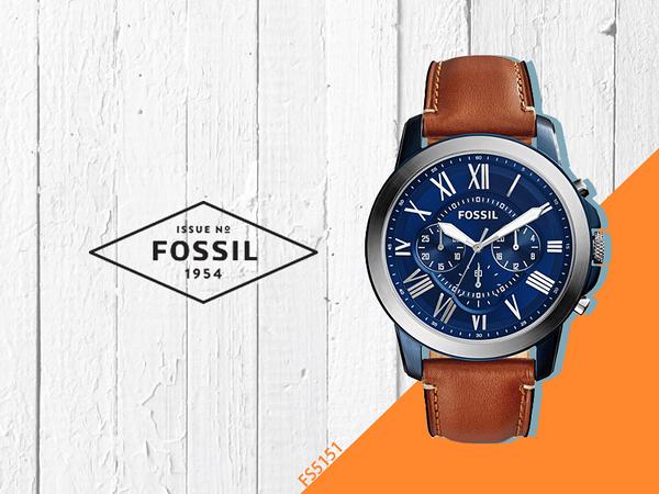 【時間道】FOSSIL Grant經典羅馬刻度三眼計時腕錶 / 藍面銀框淺棕皮帶(FS5151)免運費