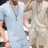 V領棉麻衫+短褲套裝/休閒套裝-4色 M-5XL碼【C323265】