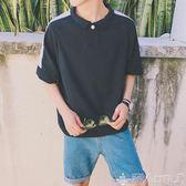 翻領POLO衫T恤短袖ins超火的上衣小清新chic男生韓式潮流襯衫領潮 潮人女鞋