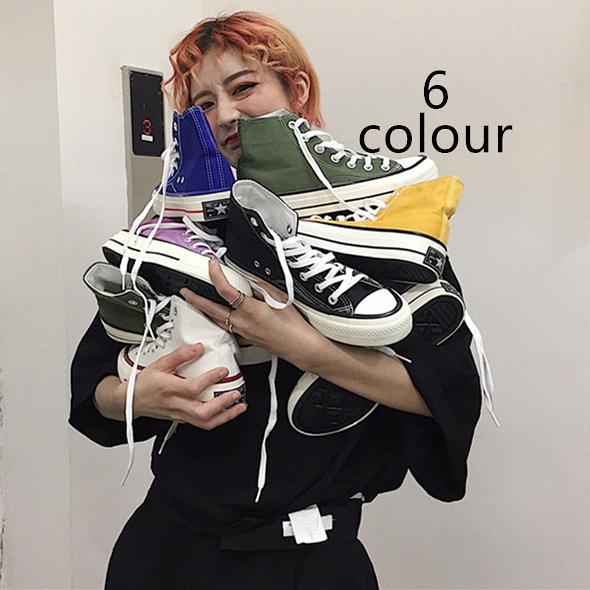 帆布鞋  INSstudios.19ss韓國復古基礎款經典百搭逼備高筒帆布鞋 男女款