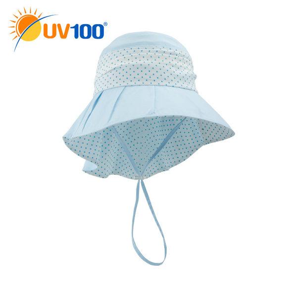 UV100 防曬 抗UV-點點風采遮陽帽-後頸防護