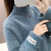 半高領針織衫雪尼爾毛衣女秋冬外穿寬鬆韓版水貂絨高領套頭打底衫加厚春季特賣