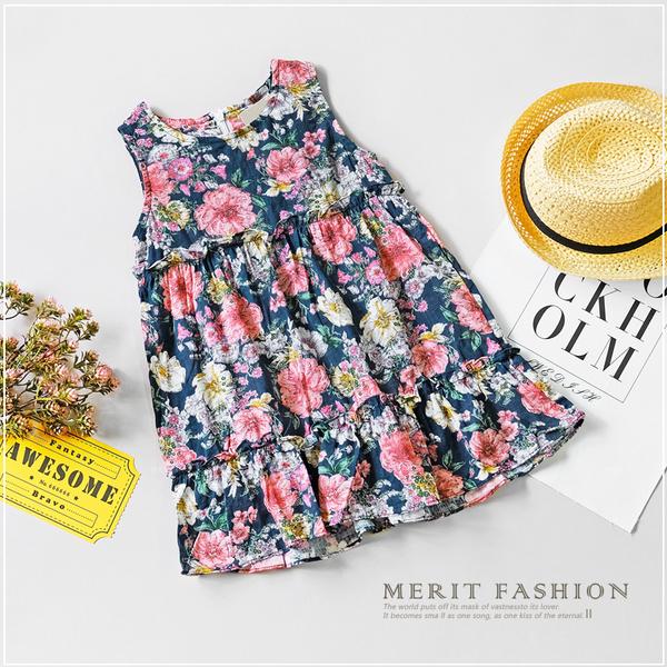 純棉 歐風花朵背心棉麻洋裝 日系 韓版 女童洋裝 連衣裙 無袖 背心 拼接 女童裝 哎北比童裝