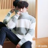 冬季潮流百搭高領毛衣男寬鬆加厚套頭毛絨打底衫韓版青年保暖線衣