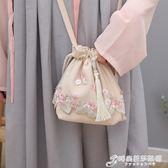 手提繡花包中國古風日常漢服配飾包袋手工蕾絲繡花布藝流蘇斜挎單肩手提包 時尚芭莎