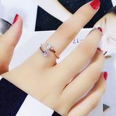 韓版潮人18K玫瑰金鉆石戒指女 日韓簡約個性彩金食指指環學生飾品   夢曼森居家