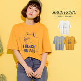 短袖 上衣 Space Picnic|預購.法鬥英文印花短袖T恤【C18031089】