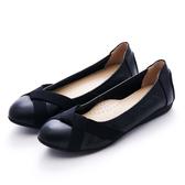 G.Ms. MIT系列-牛皮鬆緊交叉平底娃娃包鞋-黑色