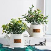 北歐雜貨清新迷你小盆栽仿真花植物盆創意綠植桌面擺件酒櫃裝飾品  igo 卡布奇諾