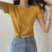針織衫 t恤女短袖2020年新款半袖女裝收身t桖冰絲針織衫高腰短款上衣黃色「草莓妞妞」