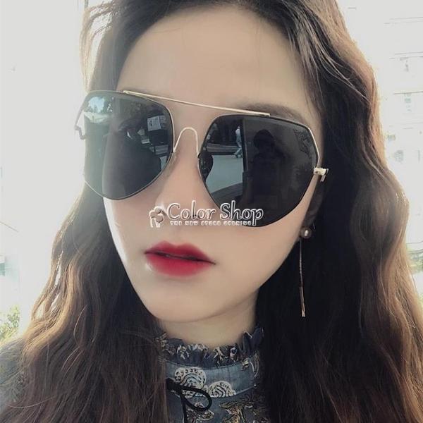 新款女士大框太陽眼鏡復古時尚茶色墨鏡施華蛤蟆鏡墨鏡男女 color shop
