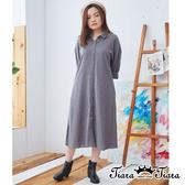 【Tiara Tiara】百貨同步ss 小清新細條紋織線長袖洋裝(藍/灰/卡其)