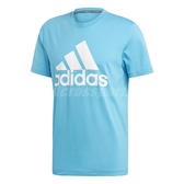 adidas 短袖T恤 MH Bos Tee 水藍 白 男款 大Logo 三條線 【PUMP306】 DX2490