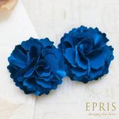 藍色緞面韓版情有獨鍾花朵鞋扣鞋夾配飾