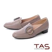 TAS金屬大圓貂毛飾扣素面樂福粗跟鞋-氣質灰