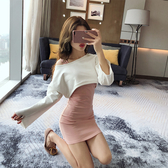 VK精品服飾 韓系一字領修身顯瘦上衣背心短裙套裝長袖裙裝