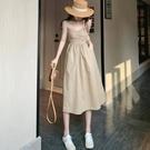 抹胸洋裝 時尚褶皺設計性感抹胸連身裙女春夏2021新款高腰顯瘦氣質中長裙潮 寶貝