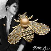 可愛小蜜蜂胸針女仿珍珠胸花簡約蝴蝶別針扣日韓國大氣開衫配飾品 范思蓮恩
