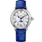 AEROWATCH 歐式風尚月相顯示經典女錶-珍珠貝x藍/35mm A43960AA01