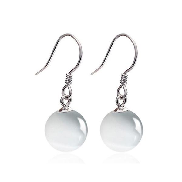 925純銀 白色貓眼石 垂墜耳環-銀 防抗過敏 無耳洞可改夾