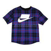 Nike 短袖T恤 NSW Printed Tee 藍 黑 女款 短T 印花 格紋 【PUMP306】 CJ7667-480