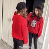 招財貓衛衣2019新款女裝無帽套頭加絨加厚上衣大紅色新年衣服女潮 樂芙美鞋