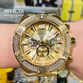 【INVICTA】三繩ㄧ生 - 三眼計時腕錶 - 金銀繩索