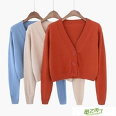 針織外套 春秋新品正韓寬鬆長袖慵懶風v領針織開衫毛衣外套女短款上衣【降價兩天】