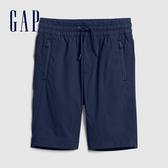 Gap男童時尚迷彩印花鬆緊腰短褲574218-海軍藍